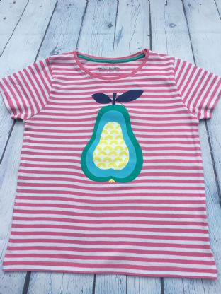 Mini Boden pink and white candy striped tshirt with pear image age 6-7